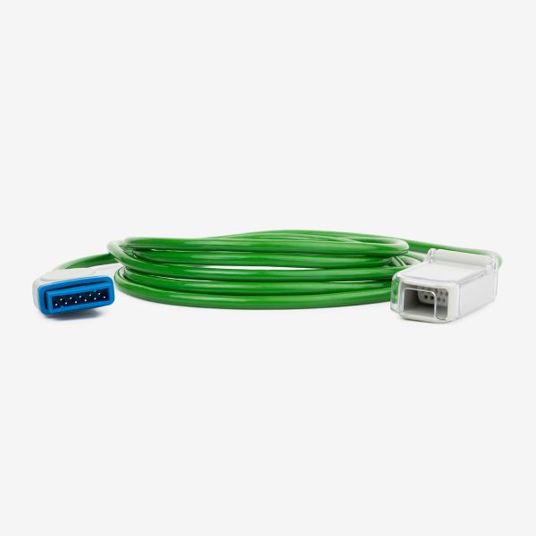 Green SpO2 Interface Cable coiled with white and blue connectors on white background
