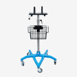 SmartStack Universal Equipment stand with blue base, metal pole, black equipment stand tray with black straps, and a black metal basket on white background