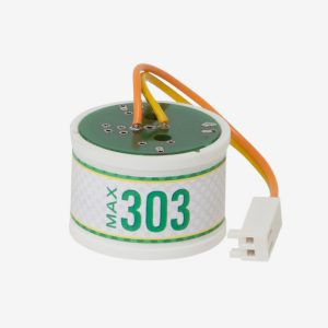 White and green cylindrical Max-303 scuba sensor with orange wires on white background