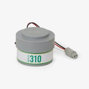 White and grey cylindrical Max-310 scuba sensor on white background