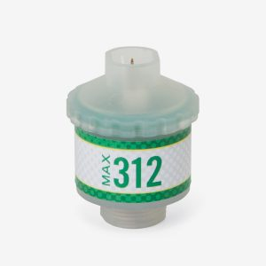 Translucent and green Max-312 scuba sensor on white background