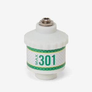 White and green cylindrical Max-301 scuba sensor on white background
