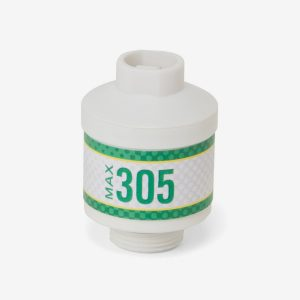 White and green cylindrical Max-305 scuba sensor on white background