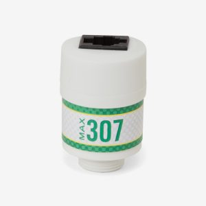 White and green cylindrical Max-307 scuba sensor with black outlet on top on white background