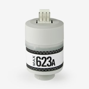 grey cylindrical Max-623 a Nitric Oxide sensor on white background