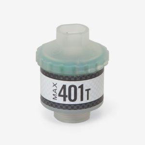 Translucent and grey cylindrical max-401 t automotive sensor on white background