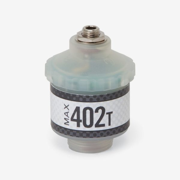 Translucent and grey cylindrical max-402 t automotive sensor on white background