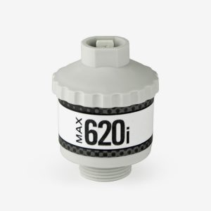 White and grey cylindrical max-620i sensor on white background