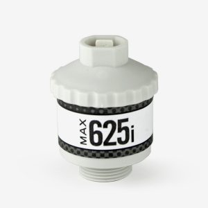 White and grey cylindrical Max-625i sensor on white background