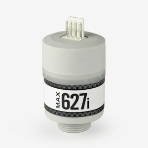White and grey cylindrical Max-627i sensor on white background