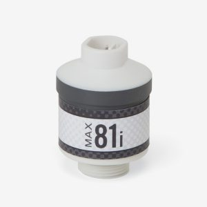 White and grey cylindrical Max-81i ppm oxygen sensor on white background