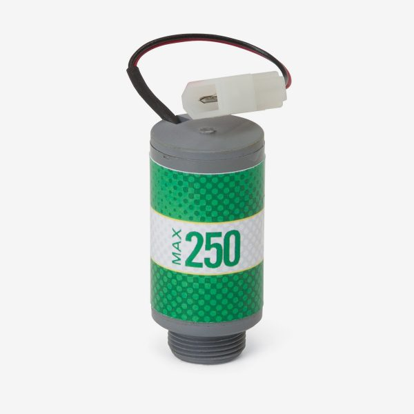 Green and grey Max-250m scuba sensor with white background