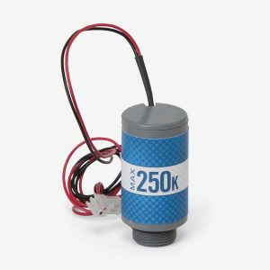 Blue and grey cylindrical Max-250k oxygen sensor with panduit connector on white background