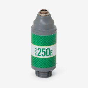 Green and grey Max-250e scuba sensor with white background