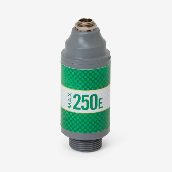Green and grey Max-250e scuba sensor with white background