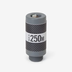 Grey and cylinder Max-250 m industrial sensor on white background