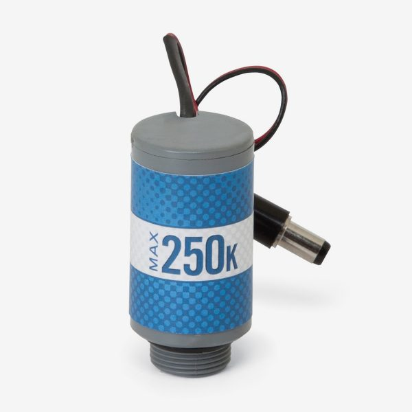 Blue and grey cylindrical Max-250m oxygen sensor with male dc power port on white background