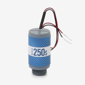 Blue and grey cylindrical Max-250s oxygen sensor on white background