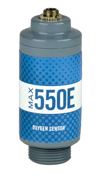 Blue, white, and grey Max-550E oxygen sensor, front-view