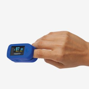 Hand using a blue MD300 C2 Pulse oximeter on white background