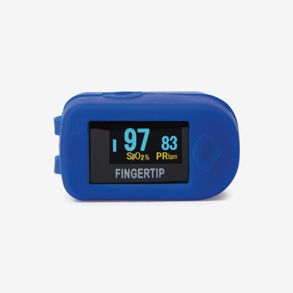 Blue MD300 C2 Pulse oximeter on white background