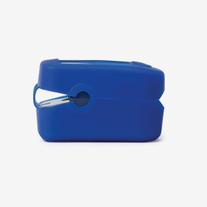 Side of blue MD300 C2 Pulse oximeter on white background