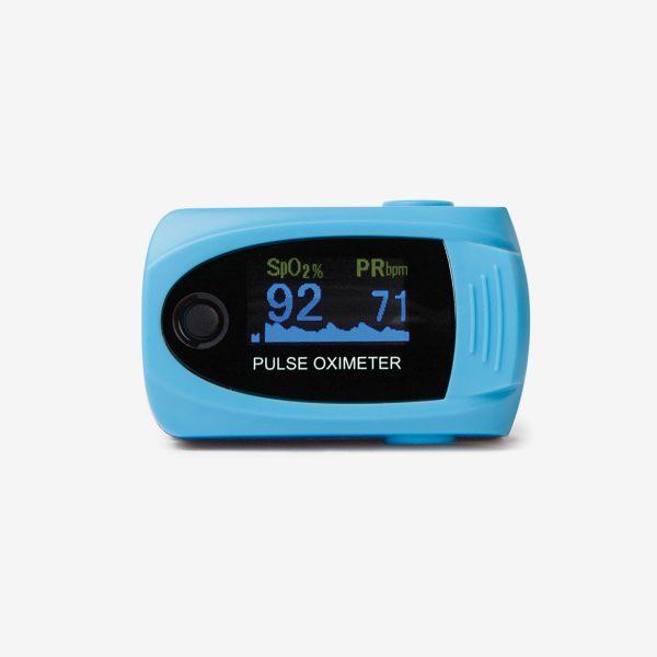 Light blue MD300 C63 pulse oximeter on white background