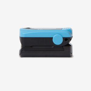 Side of light blue MD300 C63 pulse oximeter on white background