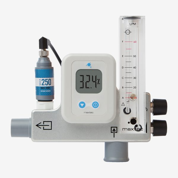 Front of metal and white MaxVenturi blender with blue max-250 sensor and translucent acrylic flow meter on white background
