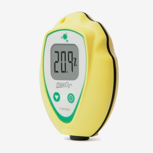 Yellow MaxO2+ A Scuba oxygen analyzer on white background shown at an angle
