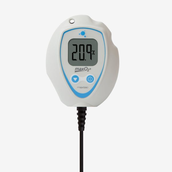 White and blue MaxO2+ AE oxygen analyzer connected to black cable on white background