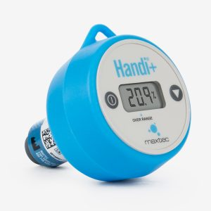 Angle of blue and white handi+ oxygen analyzer on white background