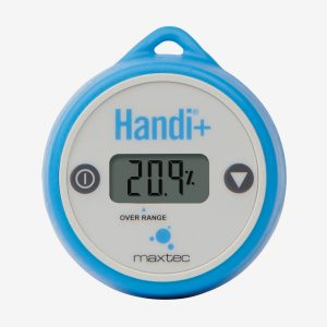 Front of blue and white handi+ oxygen analyzer on white background