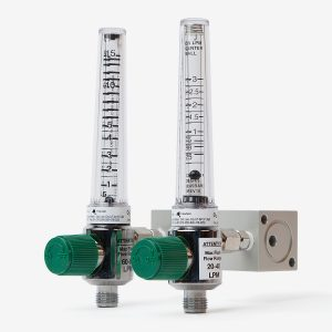 Angle of metal and acrylic Blender Buddy dual scale flow meters with green knobs on white background