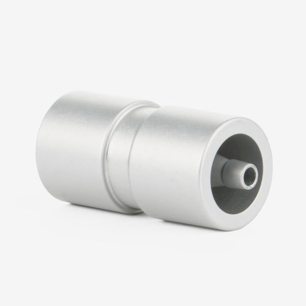 Right angled 3-in-1 muffled adapter on white background