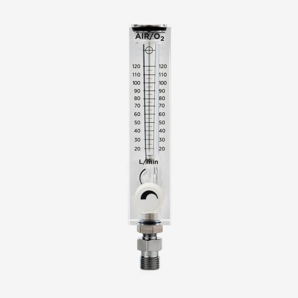 DISS 0-120 liters per minute 60 psi acrylic flow meter with white knob