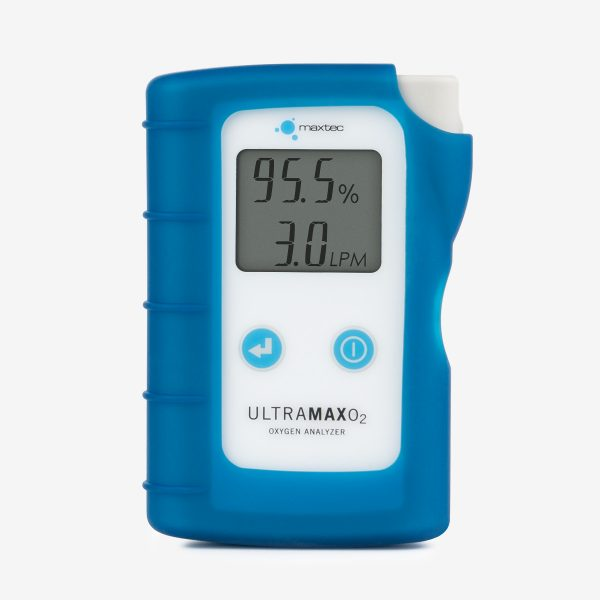 UltraMaxO2 Oxygen Analyzer front with blue silicone case