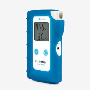 UltraMaxO2 Oxygen Analyzer with blue silicone case angled