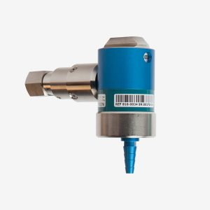 Blue and silver Micro Dial flow meter on white background shown from an angle