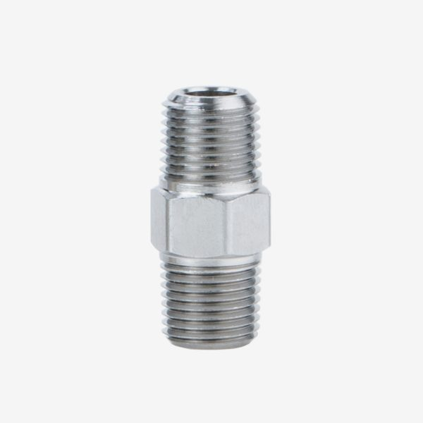 Silver 1/8th inch fitting hex nipple for flow meter manifold on white background