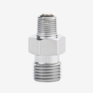 Silver 1/8th inch NPT DISS blender buddy fitting on white background