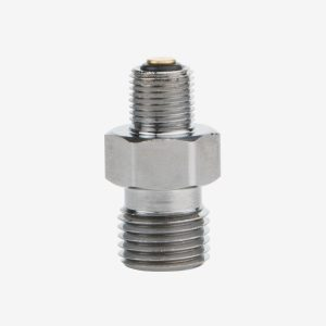 Silver one-way check valve DISS oxygen fitting on white background