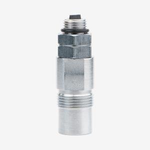 Silver Oxygen Blender NIST Inlet Fitting on white background