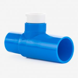 Blue 15mm tee adapter on white background, shown at an angle