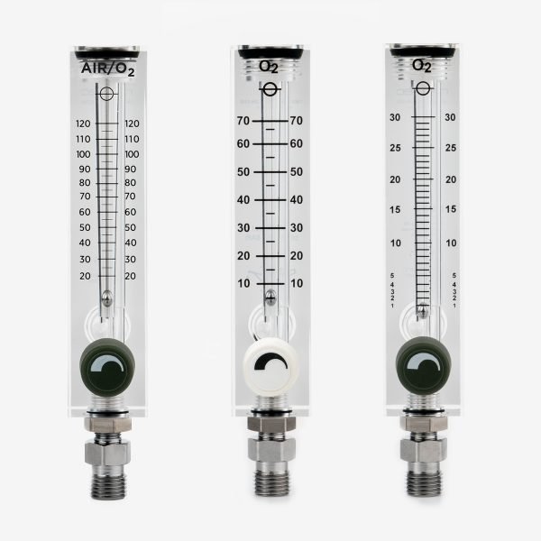 Acrylic flow meters in 0-120, 0-70, and 0-30 liters per minute with black and white knobs