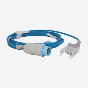 Blue extension cable with white and blue connector for pediatric disposable finger probe