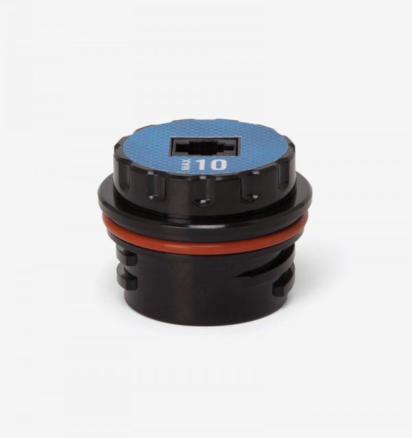 Black and blue Max-10 oxygen sensor on white background