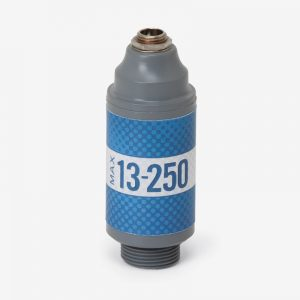 White, grey and blue Max-13-250 oxygen sensor on white background