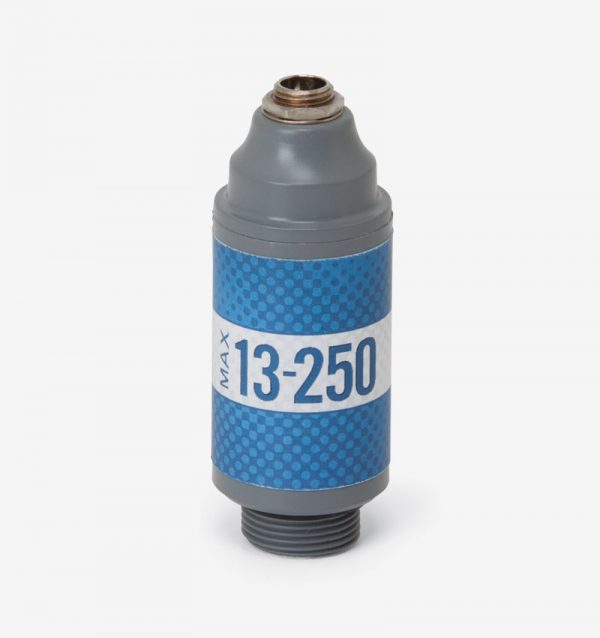White, grey and blue Max-13-250 oxygen sensor on white background