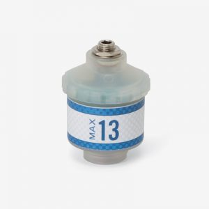 White and blue Max-13 oxygen sensor on white background